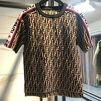 FENDI Summer Fashion Women Men Casual F Letter Jacquard Short Sleeve Top T-Shirt Coffee