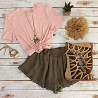 Ruffle Shorts in Olive