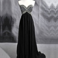 Stunning A-line Sweetheart Court Train Prom Dress with Rhinestones