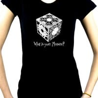 """Puzzle Box """"What is your pleasure?"""" Women's Babydoll Shirt Top Hellraiser Pinhead Horror"""