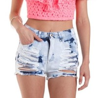 High Rise Bleached & Destroyed Shorts