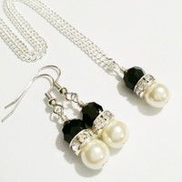 Black and Ivory Necklace and Earring Set / Black and Silver Necklace Set / Bridesmaid Necklace and Earring Set