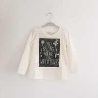 Ivory Organic Cotton A-line You Belong Among the WILDFLOWERS Toddler/Kid's Girl's Long Sleeve Tee.
