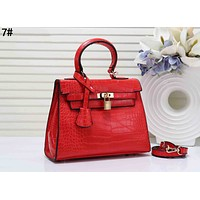 Hermes Trending Women Leather Handbag Tote Shoulder Bag Crossbody Satchel 7# Red