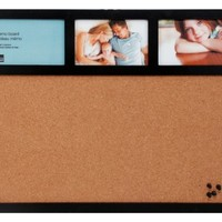 Kiera Grace Cork Board and Collage Frame Combo, 16 by 20 Inch Holds 3- 4 by 6 Inch Photos, Black with 4 Pushpins