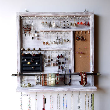 Jewelry organizer. earrings holder. jewelery rack necklace holder. Distressed white display. wall mounted jewelry storage. MULTIPLE COLORS.