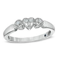 Cherished Promise Collection™ Diamond Accent Triple Heart Promise Ring in Sterling Silver - Size 6
