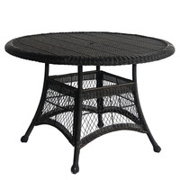 Black Resin Wicker 44.5 Inch Outdoor Dining Patio Table With Umbrella Hole