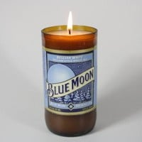 Beer Bottle Candle Upcycled from Blue Moon Beer Bottle, Custom Made Candle