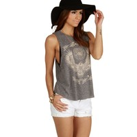 Heather Gray Eagle Graphic Tank Top