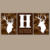 CAMO DEER Wall Art, Canvas or Prints, Baby Boy Name Country Nursery Pictures, Big Boy Bedroom, Antlers Rustic Decor, Set of 3 Brown