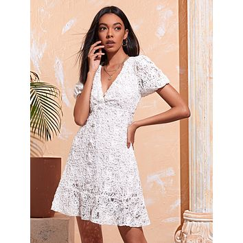 Puff Sleeve Appliques Lace Dress