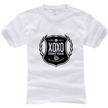 Kpop All Support T Shirt EXO (S, white)