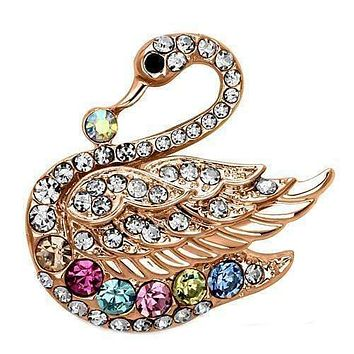 Vintage Brooches LO2789 Flash Rose Gold White Metal Brooches with Crystal