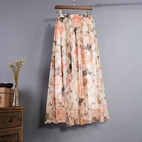 Uwback Women Chiffon Skirt Floral Floor Length Women Long Maxi Skirts Loose Boho Beach Skirt 2018 New Summer Fashion Wear, EB129