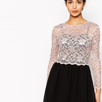 Little Mistress Petite Long Sleeve Skater Dress With Lace Overlay