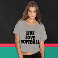 Live Love Softball boxy tee
