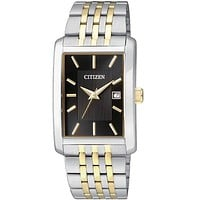 Citizen Quartz Mens Two-Tone Date Watch - Black Dial - Rectangular Case