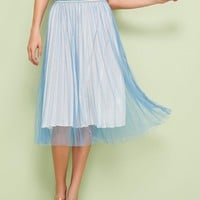 Mesh Overlay Pleated Skirt