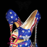 AMERICAN PRIDE by Marc Defang, Homecoming Shoes, Prom Shoes, Beauty Contestent Shoes, Crystal Weddings, Wedding Shoes