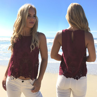 Vintage Scallop Lace Burgundy Blouse
