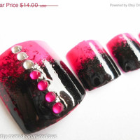 ON SALE Ombre Fake Nails for Toes Fade Black to Hot Pink with Rhinestones