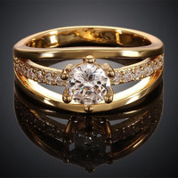 Luxury Austrian Crystal Finger Eternity Ring with AAA Cub Zirconia,     yellow gold Platinum Plated Jewelry