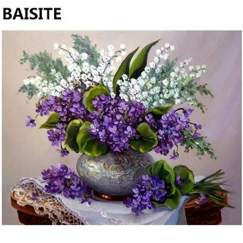 BAISITE Frameless DIY Oil Painting Pictures By Numbers On Canvas Wall Pictures Wall Art For Living Room Home Decoration 968