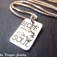 Inspirational jewelry Sterling Silver hope anchors the soul inspirational quote necklace