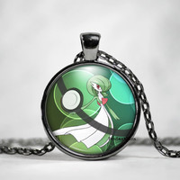 Gardevoir Pokeball Necklace, Gardevoir Pokemon, pokemon go, pokemon jewelry, pokemon necklace, pokeball necklace, fan art,glass photo art