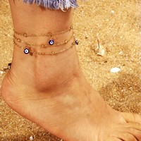 Eye Charm Double Layered Chain Anklet 1pc
