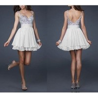 Cute Silver Sequins and White Chiffon Short Bridesmaids' Cocktail Ball Evening /Engagement /Graduation/Birthday Party Dress