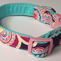 Aqua, Purple & Pink Paisley Collar for Female Dog or Cat
