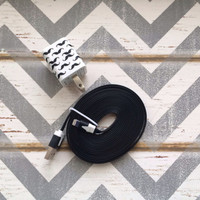 New Super Cute Black & White Mustache Designed Dual USB Wall Connector + 10ft Flat Black IPhone 5/5s/5c Cable Cord