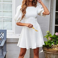 Vintage Puff Sleeve Women Dress A Line Elegant White Party Holiday Dress O Neck denim Sundress Female
