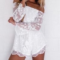 White Off the Shoulder Long Sleeve Floral Lace Chiffon Romper