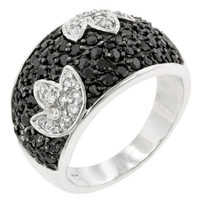 Black And White Tulip Ring, size : 07