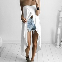 Fashion New White Breast-wrapped Spliced Cool Sexy Long Skirt