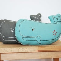 $30.00 embroidered whale pillow in light teal by katedurkin on Etsy