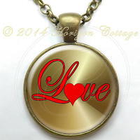 Cool Valentine Love Heart Pendant or Key Ring