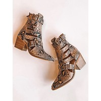 Eden Cut Out Snake Booties (Brown)