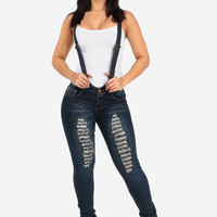 Ripped Suspender Skinny Jeans