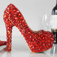 Bridal Heels Rhinestoneos Red Stilettos
