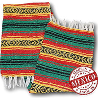 Yogi Yoga Premium Mexican Bed Blanket - Beautiful, Bright and Comfortable Serape Rug