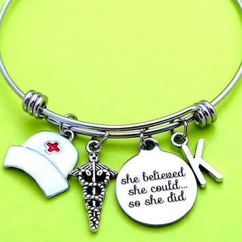 Personalized, Letter, Initial, Nurse, She Believed she could so she did, Bangle, Bracelet, Graduation, RN, Physician's assistant, Gift