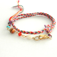 Bohemian fishtail braided woven multi colored floss friendship bracelet - tassel ends pearl crystals unique anthropologie free people inspired from Zurdokero