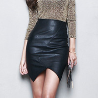 New Asymmetric Short Leather Skirts Women 2016 Sexy Slim Thin Package Hip Saia Feminina High Waist Pencil Skirt S~L Black Jupe