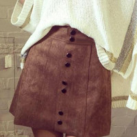 Brown High Waisted Button Up Suedette Mini Skirt