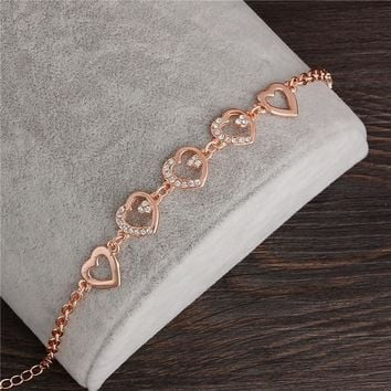 2017 Rose Gold Color Chain Link Bracelet for Women Ladies Crystal Heart Jewelry Gift Price Girls Bracelets & Bangles