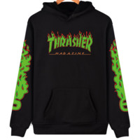"""Thrasher"" flame pattern loose hooded  sweater long-sleeved skateboard black"